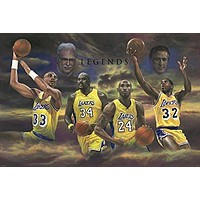 LOS ANGELES LAKERS LEGENDS POSTER Kobe Bryant - Magic Johnson - Karim Abdul jabbar RARE HOT NEW 24x36