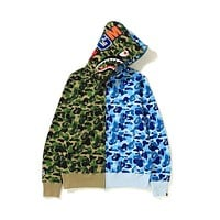 Bape shark camouflage couple trend stitching color hoodie jacket Green&Blue