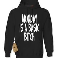 Expression Tees Monday Is a Basic Bitch Adult Hoodie Sweatshirt