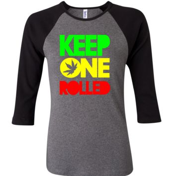 Keep One Rolled 3/4 Sleeve Baseball Ladies Jersey