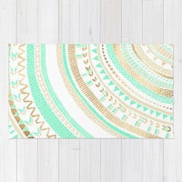 Mint + Gold Tribal Rug by Tangerine-Tane