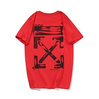 Off White Fashion New Letter Cross Arrow Print Women Men Top T-Shirt Red