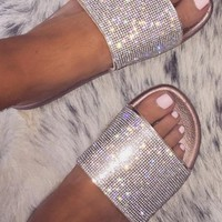 Unicorn Champagne Diamante Strap Sliders