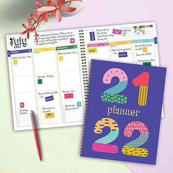 July 2021-June 2022 Pattern Years Large Daily Weekly Monthly Planner + Coordinating Planning Stickers