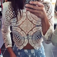 White Sheer Lace Scoop Neck 3/4 Sleeve Zip Back Scallop Edge Blouse
