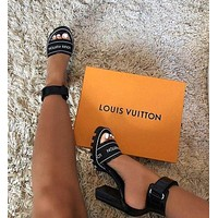Louis Vuitton LV hot sale ladies monogram print black high heel sandals Shoes