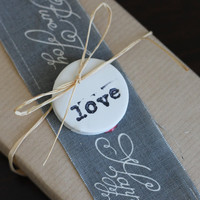love gift tags, black stamped clay, wedding anniversary engagement gift