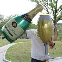 2pcs/lot Champagne And Cup Beer Glass Balloons Decorative Foil Balloon Wedding Decorations Birthday Party Accessories