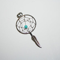 Beautiful Vintage Sterling Silver Dream Catcher with turquoise bead Necklace Pendant  -US free shipping