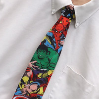 Comic Book Hero Necktie Marvelous Superhero Neck Tie Pre-Tied on Band Boys Men