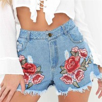 Fashion Women Summer High Waist Embroider Denim Short Ripped Jeans Short Casual Short Shorts Size S-XXL