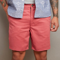 Faded Coral Cotton Twill Shorts