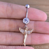 Angel Belly Button Rings,angel Navel Jewlery,lucky belly ring,friendship gift