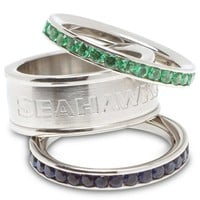Seattle Seahawks Logo Crystal Stacked Ring Set - Sales Cache