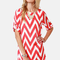 Can You Zig It? Coral Pink Chevron Print Dress