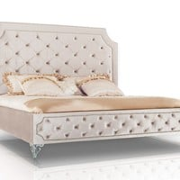 Modrest Leilah - Transitional Tufted Beige Fabric Bed