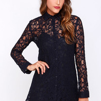 BB Dakota Tanya Navy Blue Lace Shirt Dress