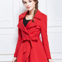 Red Lapel Double Breasted Tie Waist Trumpet Hem Trench Coat
