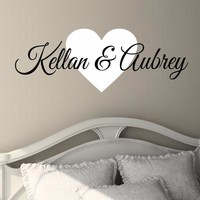 Couples Heart Name Wall Decal