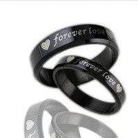 """1PCS Fashion Jewelry Simple Style Mens OR Womens 316L Stainless Steel Polish """"forever love"""" Promise Rings Couples Wedding Bands,Unique Lover's Ring ,Black ,From Milkle Gift [7687321350]"""