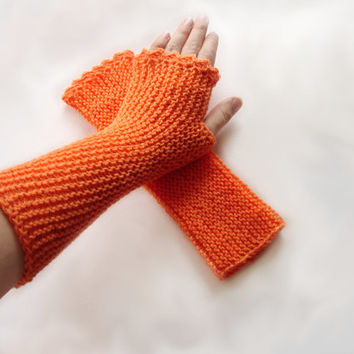 Orange fingerless mittens, seamless soft armwarmers, bright orange fingerless gloves, soft baby acrylic