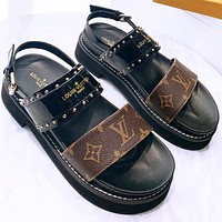 New Louis Vuitton LV Sandals Platform gold studded convex rubber outer sole Slippers Black Coffee