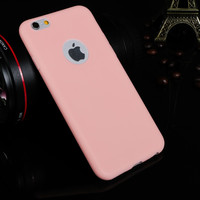 Ultra Thin Candy Colorful Soft Texture TPU Silicon Apple Logo Window Pink Back Cover Phone Case for iPhone 6 6s 4.7 inch
