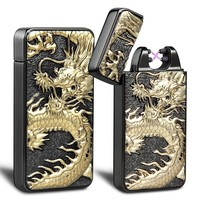 BIC/Zippo < Kivors USB Rechargeable Windproof Flameless Electronic Pulse Double Arc Cigarette Lighter Belief Chinese Dragon Loong Lighter