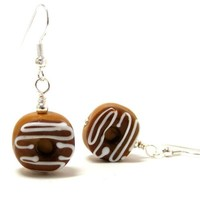 Donut Earrings Novelty Dangle Chocolate Frosted Glass Doughnuts