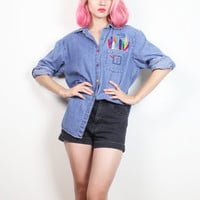 Vintage 1990s Chambray Shirt Colorful Rainbow Crayon Embroidered Pocket Normcore 90s Denim Shirt Art Teacher Soft Grunge Top M Med L Large