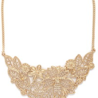 Etched Floral Statement Necklace