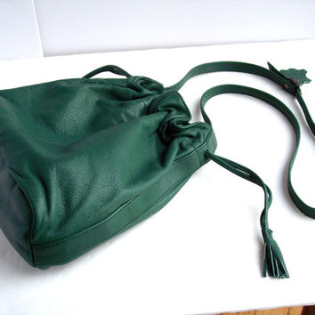 Vintage 1980s Green Leather Drawstring Bucket Purse