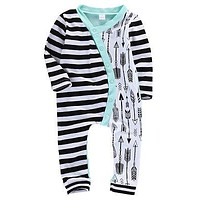 Baby Girl Boy Stripe Arrow Print Romper Striped Splice Long Sleeve Jumpsuit Outfits Clothes