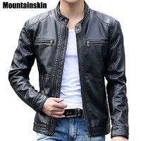 Men Leather Jacket With Stand Collar / Casual Slim Leather Jacket