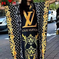 LV Louis Vuitton x Versace Summer new fashion women's clothing printing letters color matching long dress for women #4