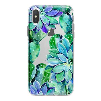 Watercolor Cactus Succulent Bloom V13 - Crystal Clear Hard Case for the iPhone XS MAX, XS & More (ALL AVAILABLE)