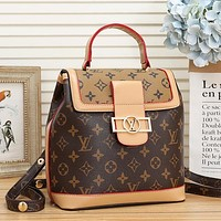 LV Louis Vuitton Women Fashion Leather Tote Backpack Daypack Bookbag