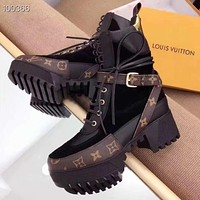 LV Louis Vuitton New product color matching printed letters ladies high heel boots shoes #8