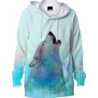 Dreamer of Dreams (Galaxy Wolf Northern Lights) Unisex Hoodie created by soaringanchordesigns | Print All Over Me