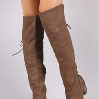 Back Corset Lace Up Chunky Heeled Over-The-Knee Boots