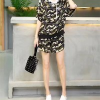 """""""Adidas"""" Women Casual Camouflage Print Hooded Short Sleeve Shorts Set Two-Piece Sportswear"""
