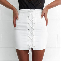 Grey Faux Suede Lace Up Front Pencil Mini Skirt White