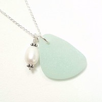Beach Necklace Aqua Sea Glass Jewelry With Wire Wrapped Pearl