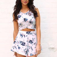 Hibiscus Floral Shaped Crop Top & High Waisted Tailored Shorts Co-ord Set in Cream, Blue & Pink