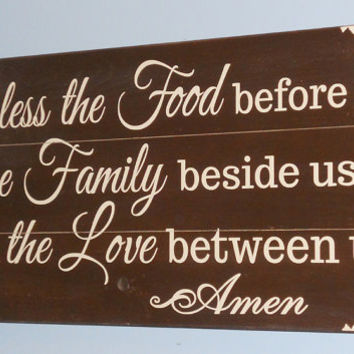 Kitchen Sign • Bless the food before us wood sign • primitive kitchen sign • country kitchen sign • country home decor • Bless the food sign