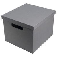 """11"""" Gray solid ext & int Lidded Milk Crate"""
