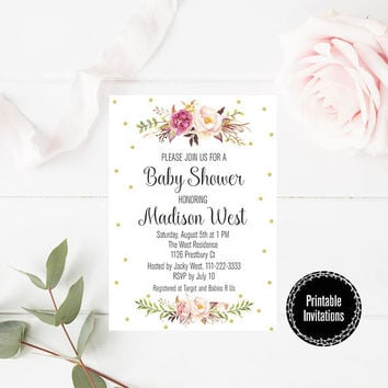 Boho Watercolor Floral Baby Shower Party Invitation - Boho Watercolor Baby Shower Party Printable - Floral Invitation - Digital Print