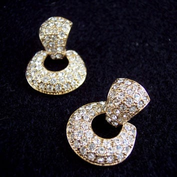 Vintage Roman Door Knocker Rhinestone Gold Tone Earrings Costume Jewelry