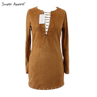 Simplee Apparel autumn faux leather suede fabric fall dress Long sleeve v neck lace up women dresses Sexy bodycon dress vestidos