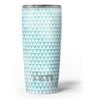Blue-Green Watercolor Triangle Pattern - Skin Decal Vinyl Wrap Kit compatible with the Yeti Rambler Cooler Tumbler Cups